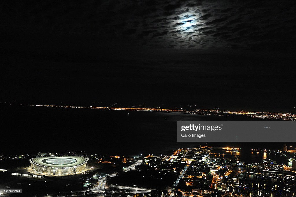 A general view of Cape Town Stadium at night ahead of the 2010 FIFA World Cup on December 2 2009 in Cape Town South Africa