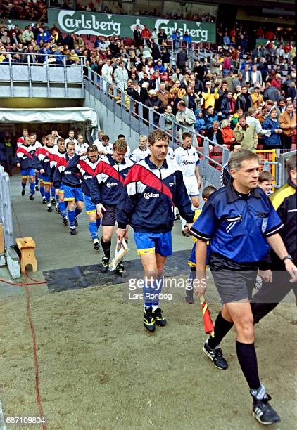 General view of captain Kim Vilfort of Brondby IF leading his team on to the pitch prior to the Danish Cup Final Compaq Cup match between FC...