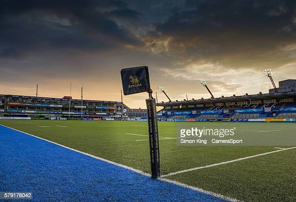 A general view of Cardiff Arms Park home of Cardiff Blues during the Singha Premiership Rugby 7's Group A match between the Ospreys 7's v Scarlets...