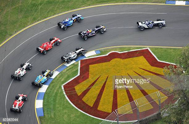 A general view of cars in action during the Australian Formula One Grand Prix at Albert Park on March 6 2005 in Melbourne Australia