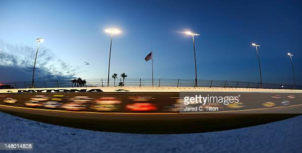 General view of cars race during the NASCAR Sprint Cup Series Coke Zero 400 Powered by CocaCola at Daytona International Speedway on July 7 2012 in...