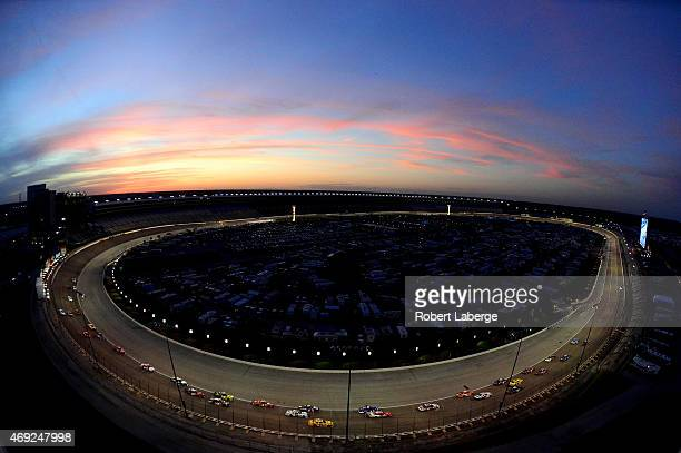 A general view of cars racing the NASCAR XFINITY Series O'Reilly Auto Parts 300 at Texas Motor Speedway on April 10 2015 in Fort Worth Texas