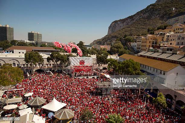 General view of Casemates Square during Gibraltar National Day celebrations on September 10 2014 in Gibraltar The official Gibraltar National Day...
