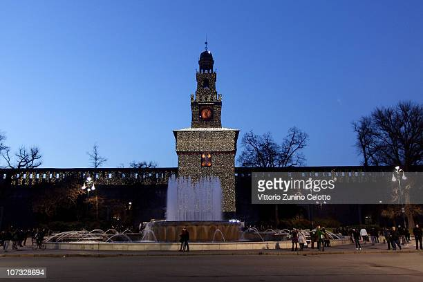 A general view of Castello Sforzesco during the Milan Christmas Led Festival on December 4 2010 in Milan Italy