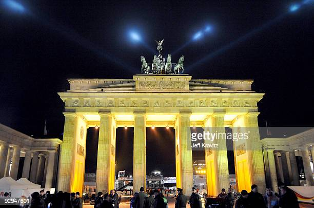 A general view of celebrations at the Brandenburg Gate on the 20th anniversary of the fall of the Berlin Wall on November 9 2009 in Berlin Germany...