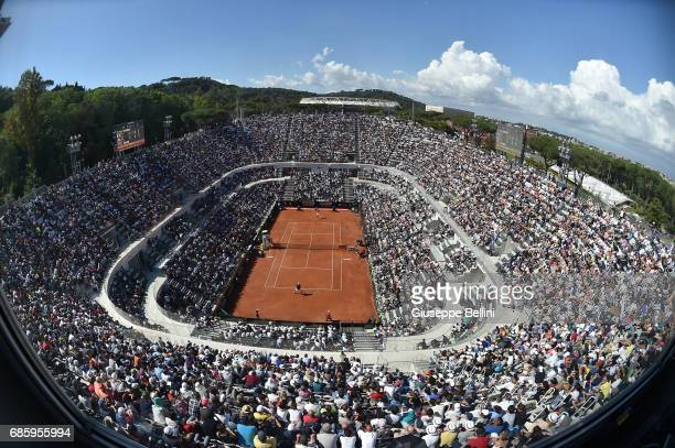 General view of Center Court during the men's semifinal match between Alexander Zverev of Germany and John Isner of USA during The Internazionali BNL...