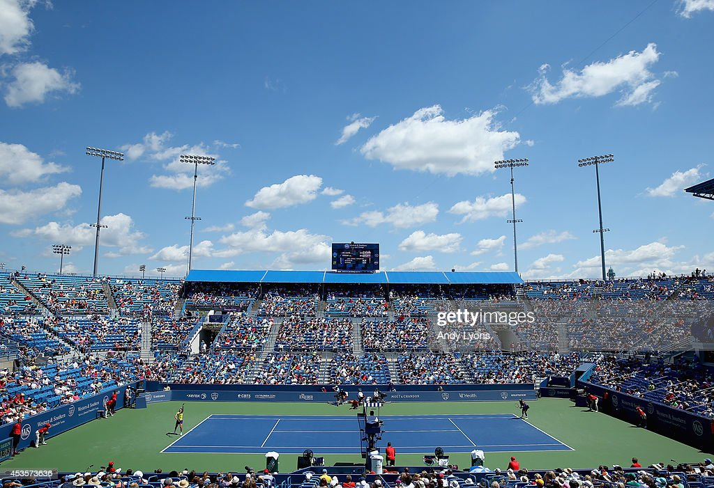 A general view of center court during the Serena Williams match against Samantha Stosur of Australia during a match on day 5 at Western Southern Open...