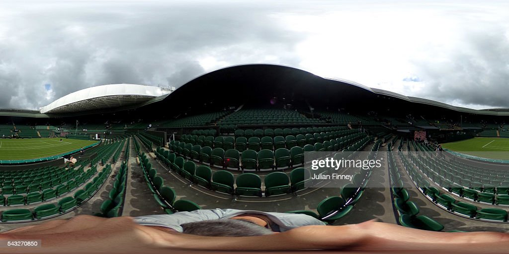 A general view of centre court ahead of day one of the Wimbledon Lawn Tennis Championships at the All England Lawn Tennis and Croquet Club on June 27, 2016 in London, England.