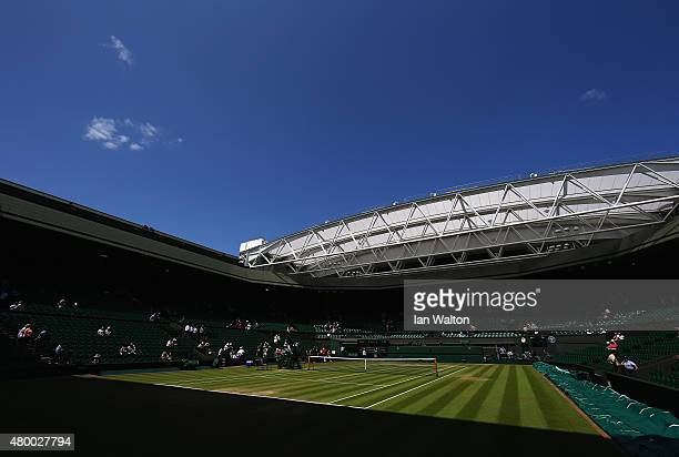 A general view of Centre Court ahead of the Ladies Singles Semi Finals matches during day ten of the Wimbledon Lawn Tennis Championships at the All...
