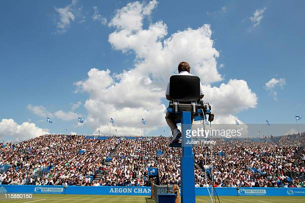 A general view of centre court and the Umpire during the Men's Singles semi final match between Andy Murray of Great Britain and Andy Roddick of the...