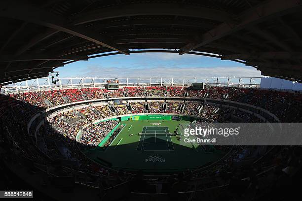 A general view of centre court as Andy Murray of Great Britain competes in the men's singles third round match against Fabio Fognini of Italy on Day...