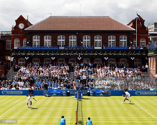 A general view of centre court as Arnaud Clement of France runs for the return shot during his Men's Singles second round match against Marin Cilic...