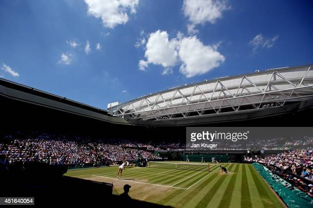 A general view of Centre court as Lucie Safarova of Czech Republic serves during her Ladies' Singles semifinal match against Petra Kvitova of Czech...