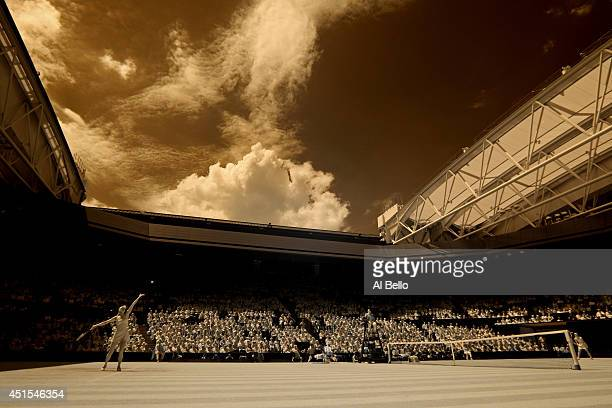 General view of Centre court as Maria Sharapova of Russia serves during her Ladies' Singles fourth round match against Angelique Kerber of Germany on...