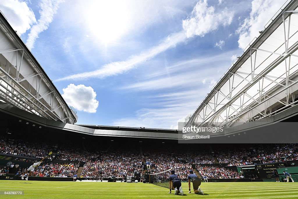 A general view of Centre court as Novak Djokovic of Serbia is in action against James Ward of Great Britain on day one of the Wimbledon Lawn Tennis Championships at the All England Lawn Tennis and Croquet Club on June 27th, 2016 in London, England.