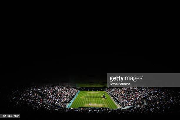 A general view of Centre court as Rafael Nadal of Spain plays against Mikhail Kukushkin of Kazakhstan during their Gentlemen's Singles third round...