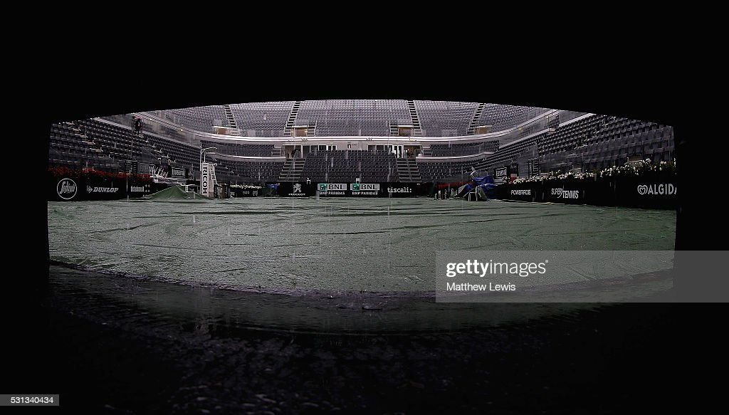 A general view of centre court as rain delays the start of day seven of The Internazionali BNL d'Italia 2016 on May 14 2016 in Rome Italy