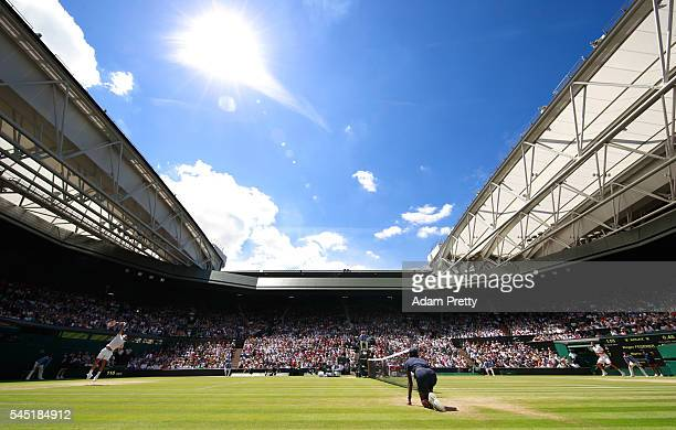 A general view of Centre Court as Roger Federer of Switzerland plays Marin Cilic of Croatia on day nine of the Wimbledon Lawn Tennis Championships at...