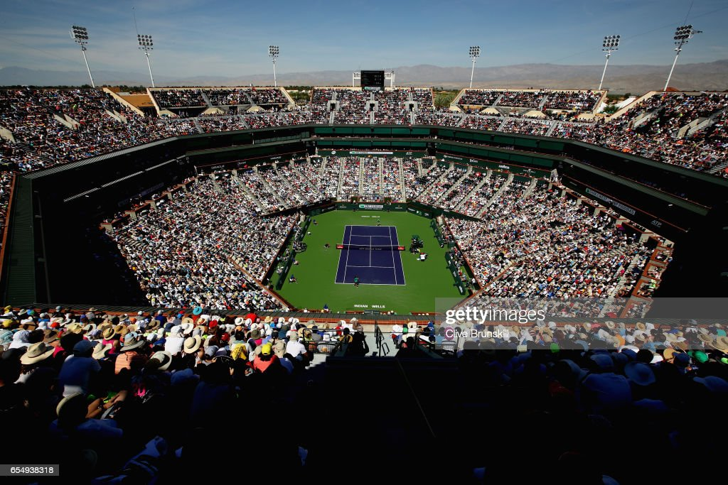 A general view of Centre Court as Roger Federer of Switzerland plays against Jack Sock of the United States in their semi final match during day thirteen of the BNP Paribas Open at Indian Wells Tennis Garden on March 18, 2017 in Indian Wells, California.