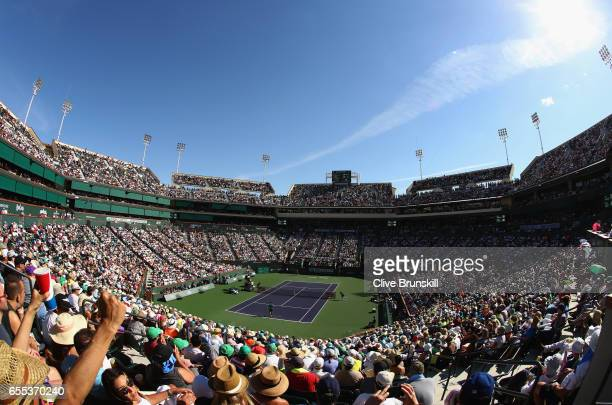 A general view of centre court as Roger Federer of Switzerland plays against Stanislas Wawrinka of Switzerland in the mens final during day fourteen...