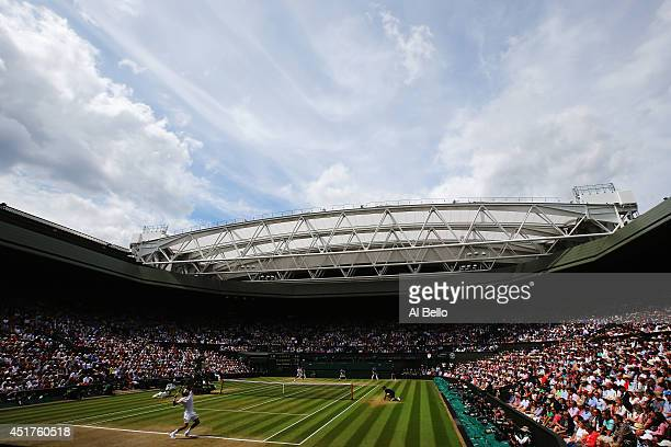 General view of centre court as Roger Federer of Switzerland serves during the Gentlemen's Singles Final match against Novak Djokovic of Serbia on...