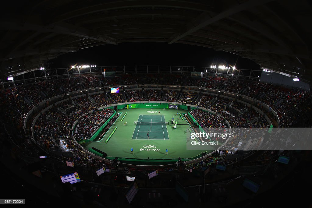 A general view of centre court as Serena Williams of the United States plays Alize Cornet of France during the Women's Singles second round match on Day 3 of the Rio 2016 Olympic Games at the Olympic Tennis Centre on August 8, 2016 in Rio de Janeiro, Brazil.