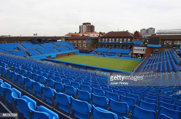 A general view of centre court as the new layout turns from red to blue at Queens Club on June 5 2009 in London England The newly named AEGON...