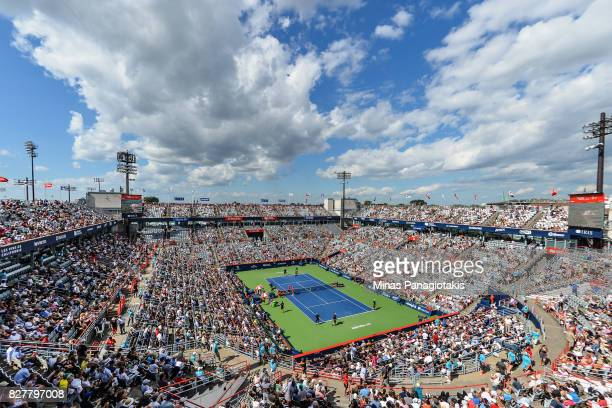 General view of centre court between Denis Shapovalov of Canada and Rogerio Dutra Silva of Brazil during day five of the Rogers Cup presented by...