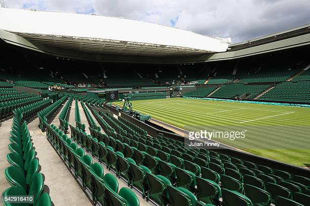A general view of Centre Court during previews for Wimbledon Tennis 2016 at Wimbledon on June 25 2016 in London England