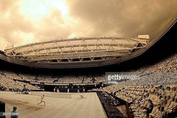 A general view of centre court during the Ladies' Singles final match as Petra Kvitova of Czech Republic plays a return against Eugenie Bouchard of...