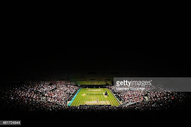 A general view of centre court during the Ladies' Singles final match as Petra Kvitova of Czech Republic serves against Eugenie Bouchard of Canada on...