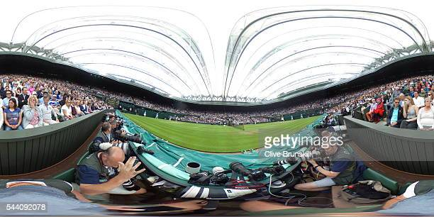 General view of Centre Court during the Ladies Singles second round match between Serena Williams of the United States and Christina McHale of the...