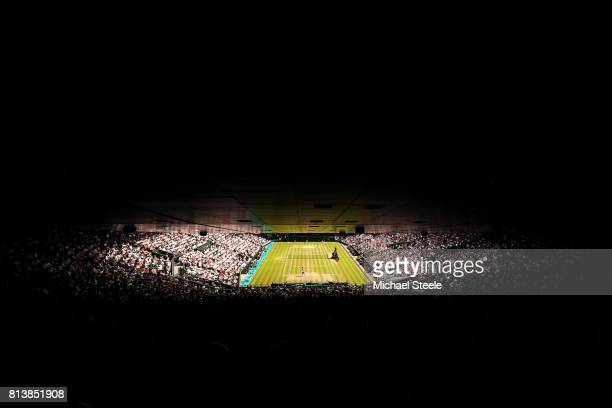 A general view of centre court during the Ladies Singles semi final match between Johanna Konta of Great Britain and Venus Williams of The United...
