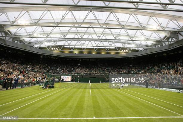 General view of Centre Court during the launch of the new retractable roof at Wimbledon's All England Lawn Tennis Club in Wimbledon on May 17 2009...