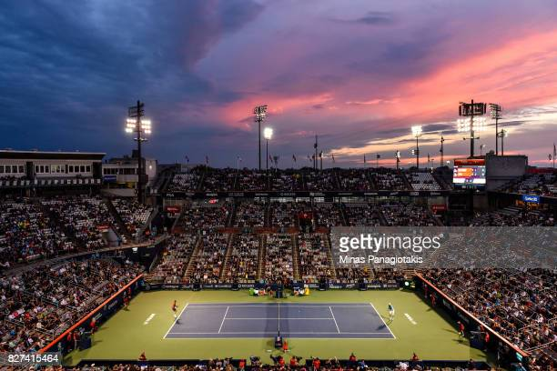 General view of centre court during the match between John Isner of the United States and Juan Martin del Potro of Argentina on day four of the...