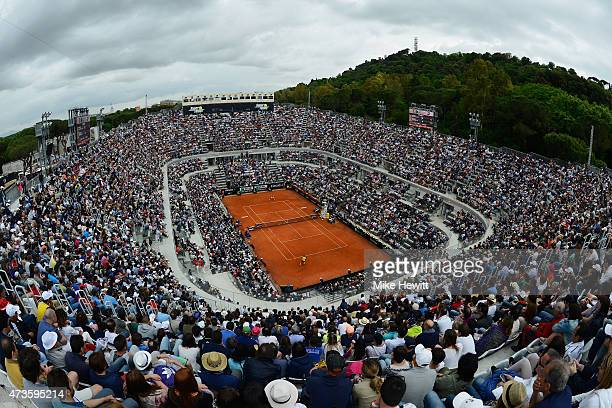 A general view of Centre Court during the Men's Semi Final match between Novak Djokovic of Serbia and David Ferrer of Spain on Day Seven of The...