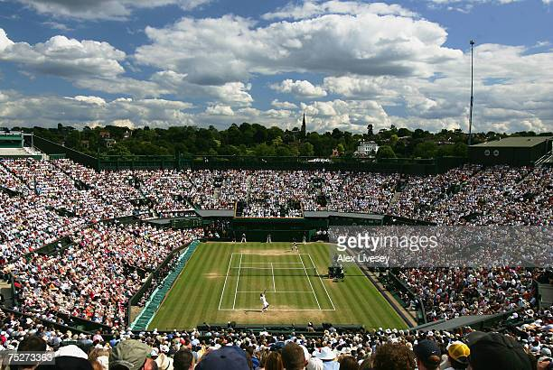 A general view of Centre Court during the Men's Singles final match between Roger Federer of Switzerland and Rafael Nadal of Spain during day...