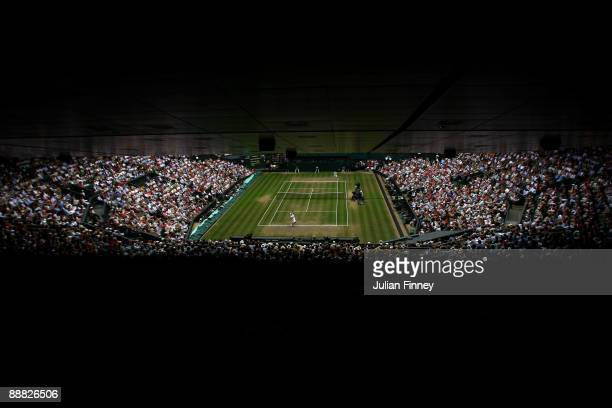 A general view of Centre Court during the men's singles final match between Roger Federer of Switzerland and Andy Roddick of USA on Day Thirteen of...