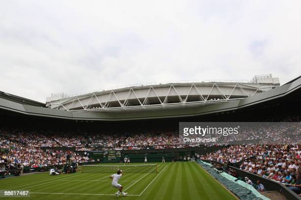 A general view of Centre Court during the men's singles first round match between Roger Federer of Switzerland and YenHsun Lu of Chinese Taipei on...