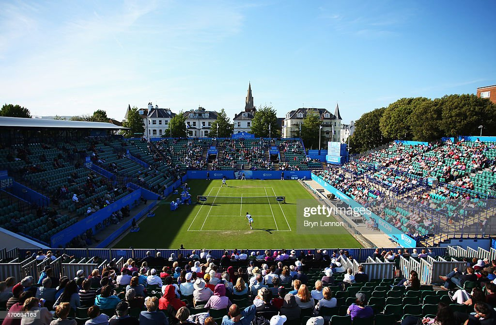 A general view of centre court during the men's singles qualifying match between Sergiy Stakhovsky of Ukraine and James Blake of USA during day two of the AEGON International tennis tournament at Devonshire Park on June 16, 2013 in Eastbourne, England.