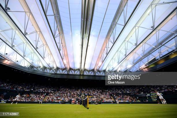 A general view of centre court during the second round match between Roger Federer of Switzerland and Adrian Mannarino of France on Day Four of the...