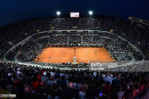 General view of Centre Court during the Second Round match between Roger Federer of Switzerland and Pablo Cuevas of Uruguay on Day Four of The...