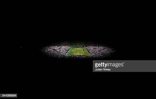 A general view of centre court on Middle Sunday of the Wimbledon Lawn Tennis Championships at the All England Lawn Tennis and Croquet Club on July 3...