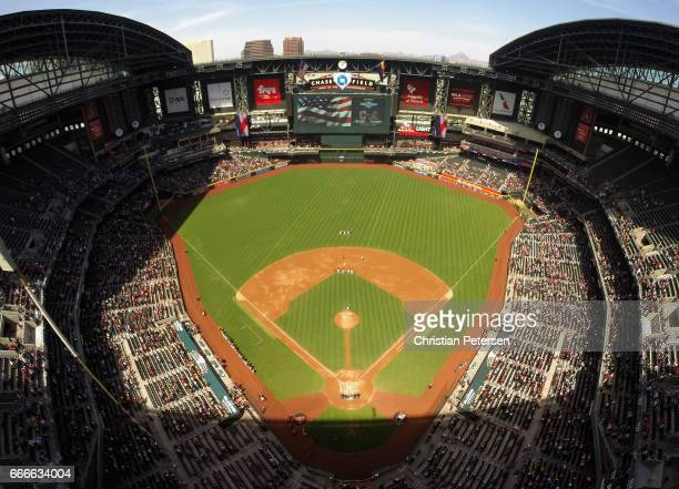 General view of Chase Field as the national anthem is performed before the MLB game between the Arizona Diamondbacks and the Cleveland Indians on...