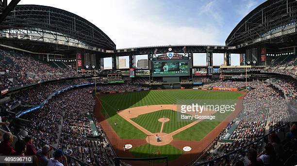 A general view of Chase Field during the game between the Arizona Diamondbacks and Los Angeles Dodgers at Chase Field on Sunday April 12 2015 in...