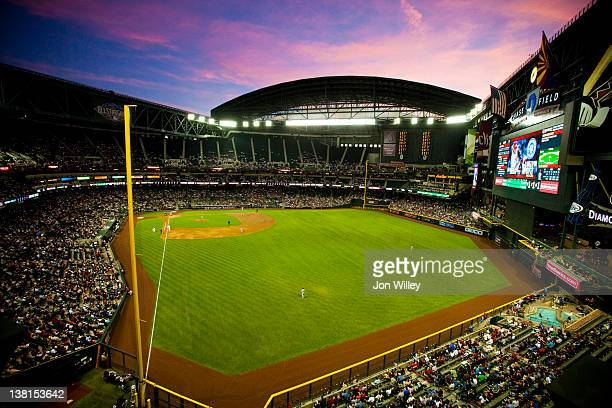 A general view of Chase Field during the game between the San Francisco Giants and the Arizona Diamondbacks in Phoenix Arizona on April 15 2011 The...