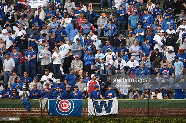 A general view of Chicago Cubs fans prior to game four of the National League Division Series between the Chicago Cubs and the St Louis Cardinals at...