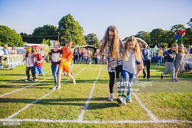General view of children in a three legged race during OnRoundhay Festival 2016 on September 17 2016 in Leeds England