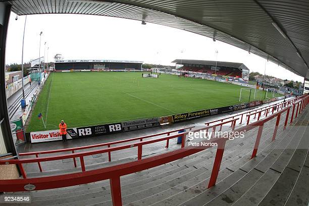 A general view of Christie Park prior to the Coca Cola League Two match between Morecambe and Northampton Town held at Christie Park on October 24...