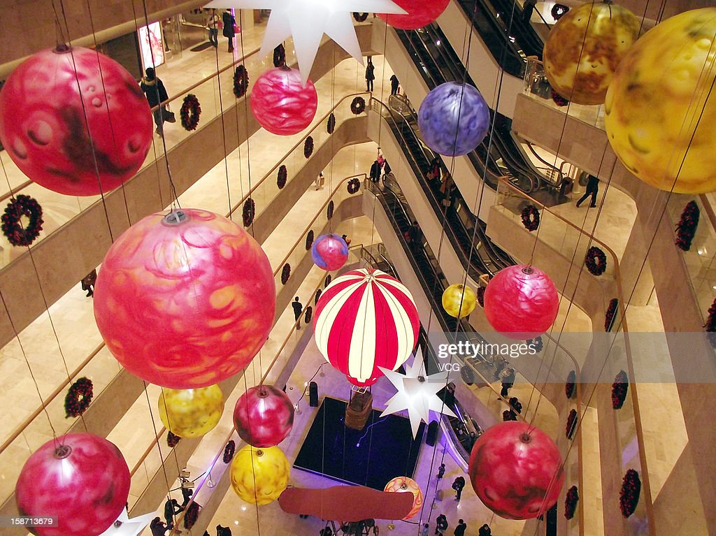 A general view of Christmas decorations at a shopping mall on December 25, 2012 in Nanjing, China.